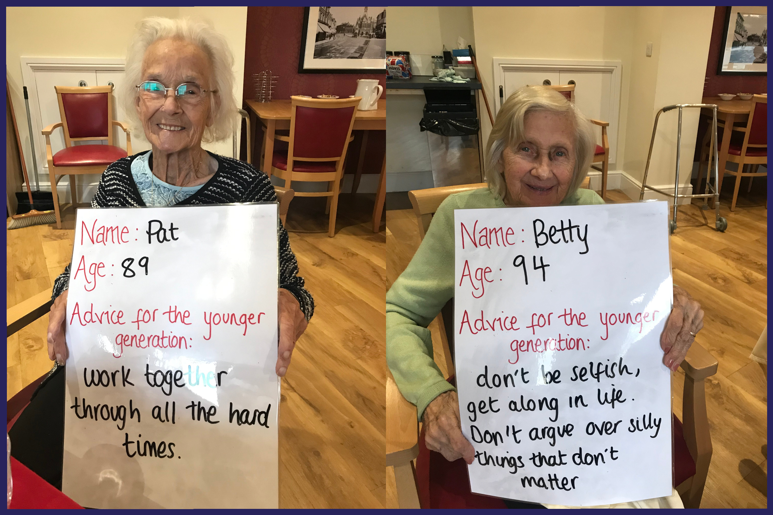 Pat and Betty give great advice to the younger generation